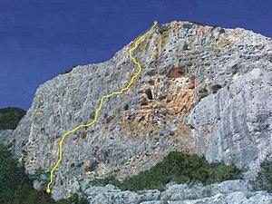 La parete denominata Muro Blu, delle falesie di Pizzu Mannu e Sa Conca Manna, a Isili (CA)