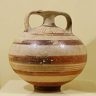 Mycenaean pottery - Ancient citadel at Mycenae, undoubted seat of the high king of the Achaeans, and namesake of all things Mycenaean. Below: a Mycenaean stirrup jar, hallmark of the oil trade in the Late Bronze Age. Furumark shape 46, type 171, Late Helladic IIIA or B, dated 1400 to 1200 BC.