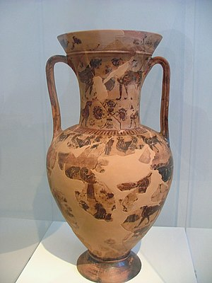 Sophilos - Attic black-figure amphora. Late work of the vase-painter, Sophilos, ca. 580 B.C. On the neck is Hermes, between Sphinxes. On the body are zones decorated with a winged Artemis, animals, florals, sphinxes, and geese. Found at Marathon, in the tumulus of the Athenians (490 B.C.).