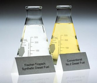 Synthetic fuel - Side-by-side comparison of FT synthetic fuel and conventional fuel. The synthetic fuel is clear as water because of a near-absence of sulfur and aromatics.