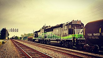 Norfolk Southern GP33ECO - NS GP33ECO 4722 powers a freight train, with a RP-M4C at the lead