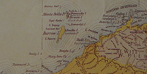 Barrow Island (Western Australia) - Barrow Island from an 1897 map, showing the Australian mainland on the bottom right (south-east) and the Montebello Islands to the north