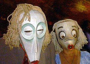 New York's Village Halloween Parade - Papier-mâché masks reflect the evening's Mardi Gras atmosphere.