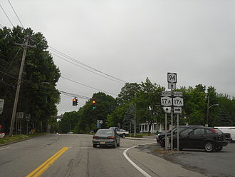 New York State Route 94 - NY 94 northbound at NY 17A in the village of Warwick