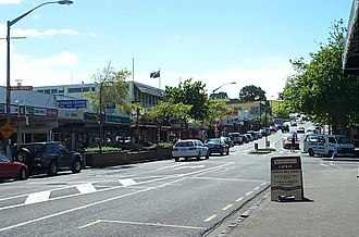 Howick, New Zealand - Main Picton Street, with Stockade Hill in the distance.