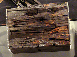 French battleship Napoléon - Wooden planking of the warship Napoléon, hit by cannon during the Crimean war.