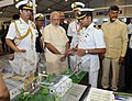 Narendra Modi visiting the Maritime Exhibition at International Fleet Review 2016 venue, in Visakhapatnam. The Chief Minister of Andhra Pradesh, Shri N. Chandrababu Naidu and the Chief of Naval Staff.jpg