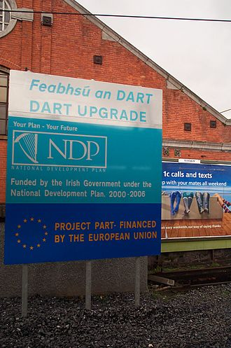 National Development Plan - A National Development Plan sign for Dublin Area Rapid Transit seen in Dublin Connolly railway station. This sign was removed in 2011