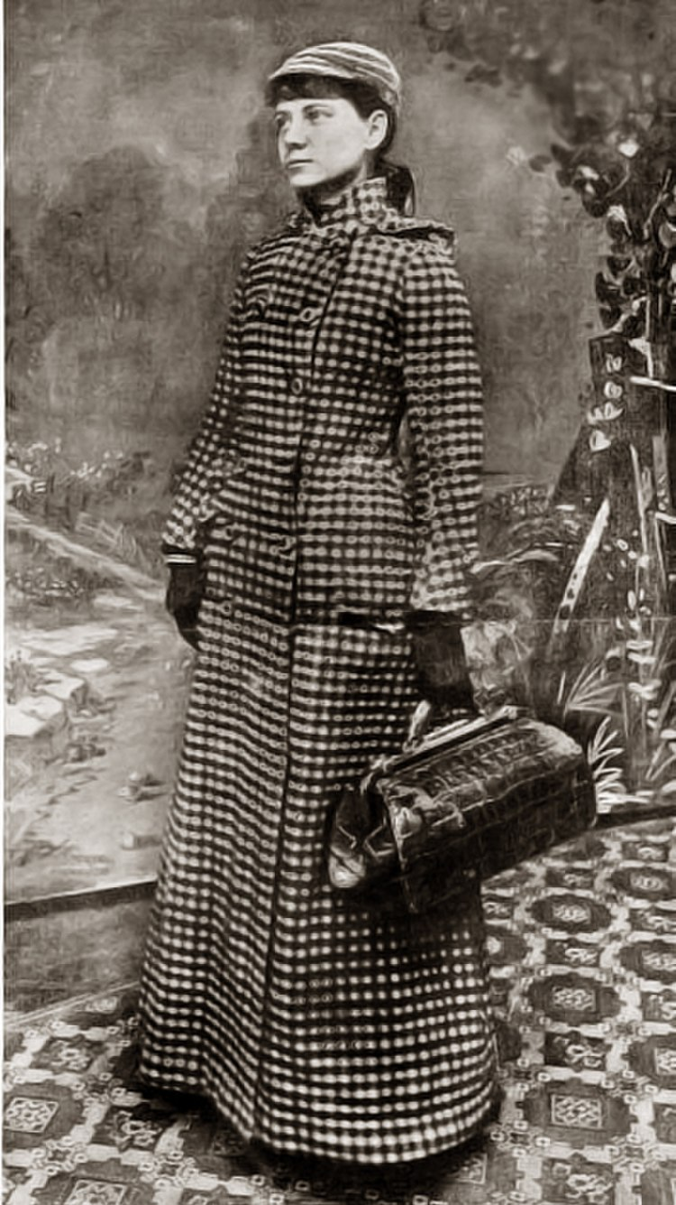 American journalist Nellie Bly, in a publicity photo for her around-the-world voyage. Caption on the original photo reads: