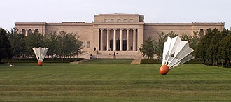 Nelson-Atkins Museum of Art - View of the museum and the Shuttlecocks installation from the south side