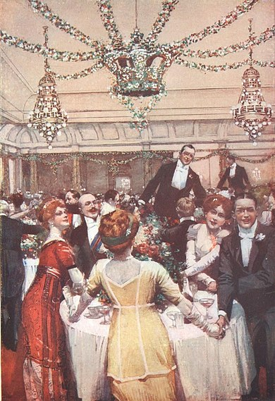 New Year's Eve dinner at the Savoy, 1910 New Year's Eve at the Savoy Hotel, London 1910.jpg