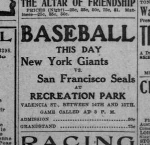 San Francisco Seals (baseball) - 1907 advertisement for game at Valencia Street Recreation Park stadium.