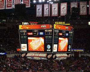 Scoreboard - A scoreboard, during a game between the Detroit Red Wings and the Los Angeles Kings on March 9, 2007 at Joe Louis Arena.