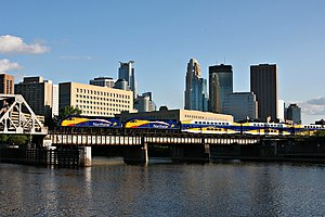 Northstar Line - A Northstar train crosses the Mississippi River at Nicollet Island