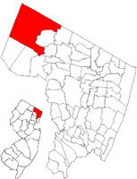 Map highlighting Mahwah's location within Bergen County. Inset: Bergen County's location within New Jersey