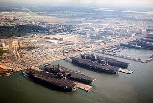 Naval Station Norfolk Chambers Field - Image: Norfolk naval base aerial 1985