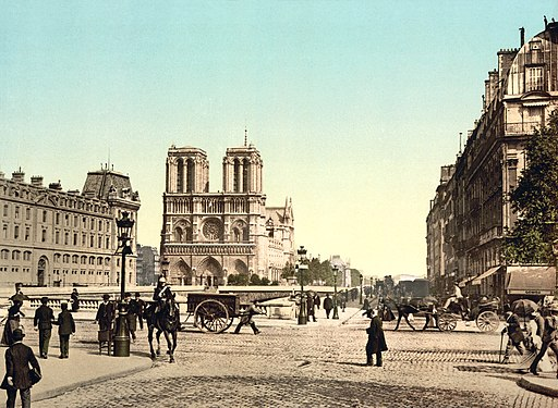 Notre Dame, and St. Michael bridge, Paris, France, ca. 1890-1900