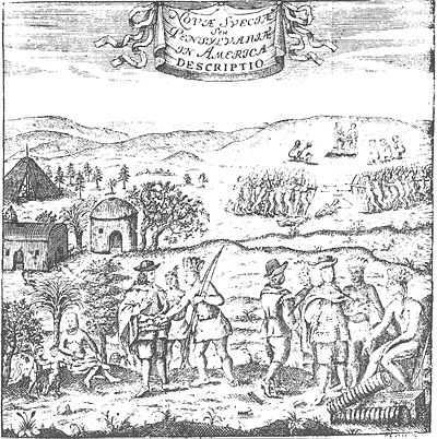 New Sweden - encounter between Swedish colonists and the natives of Delaware NouvSuede.jpg