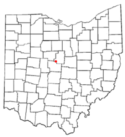 Location of Ashley, Ohio