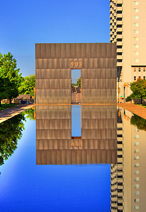 The 9:03 gate and reflecting pool at the Oklah...