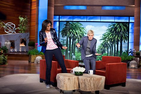 Obama and Ellen DeGeneres dance on the second anniversary of Let's Move!. Obama-DeGeneres-dance-20120201.jpg