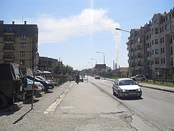 Main street in Obilić looking towards Kosovo A