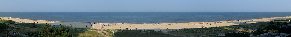A panoramic view of the beach in Ocean City from a condominium during the late afternoon, as seen in July 2013.