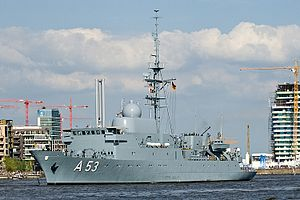 Spy ship - A53 Oker, an Oste class ELINT and reconnaissance ship, of the German Navy.