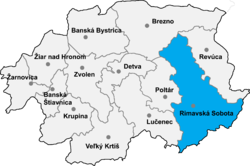 Location of Rimavska Sobotas apriņķis