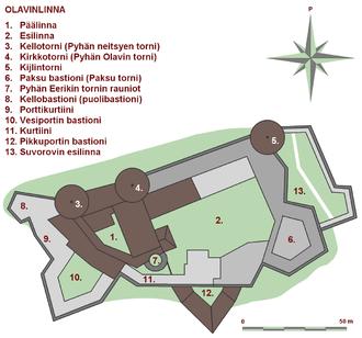 Olavinlinna - The layout of Olavinlinna today.