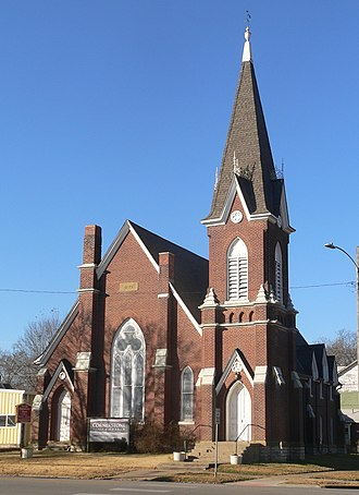 National Register of Historic Places listings in Bourbon County, Kansas - Image: Old Congregational Church, Ft Scott, from ENE 1