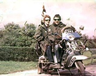 Mod (subculture) - A photograph of two mid-1960s mods on a customised scooter