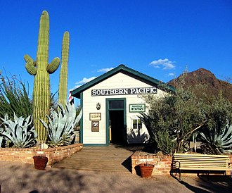 Old Tucson Studios - A railroad station building near the Old Tucson Studios entrance