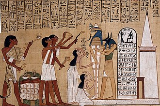Ancient Egyptian funerary practices - The Opening of the Mouth ceremony being performed on a mummy before the tomb