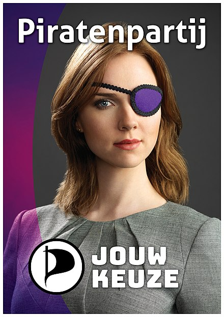 Campaign poster featuring van de Leest used by the Pirate Party for the 2017 Dutch general election PPNL-Campagneposter-2017-Ancilla-A1.jpg