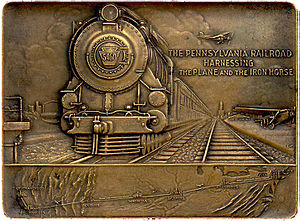 Transcontinental Air Transport - Paperweight honoring the opening of transcontinental rail-air passenger service.