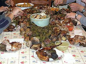 Inca cuisine - Pachamanca, a traditional dish consisting of food prepared in a huatia.