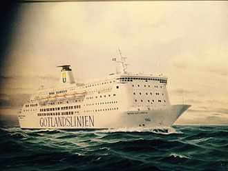 MS Almariya - Painting of Nord Gotlandia during service between Gotland and mainland Sweden.