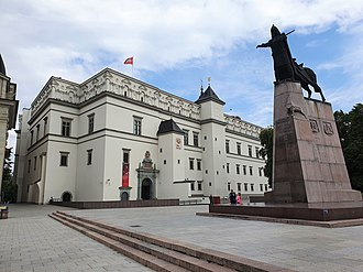 Palace of the Grand Dukes of Lithuania and Grand Duke Gediminas Monument with the howling iron wolf Palace of the Grand Dukes of Lithuania and Gediminas Monument, Vilnius.jpg