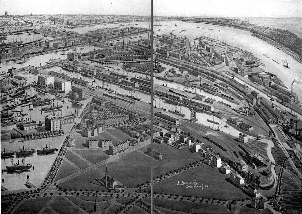 Panorama van een deel van de Linker Maasover met Fijenoord door E. Hesmert, 1904