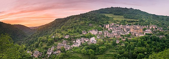 Panoramic view of the sunset in Conques, Aveyron, France