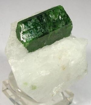 Pargasite - Single crystal of pargasite, 1.5 cm long, on a matrix of white marble from Hunza Valley, Pakistan