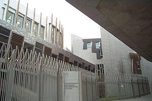 Scottish Gaelic - Bilingual signs in English and Gaelic are now part of the architecture in the Scottish Parliament building completed in 2004.