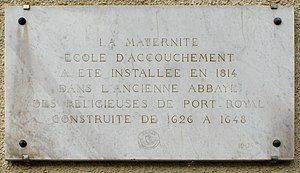 Port-Royal Abbey, Paris - Plaque