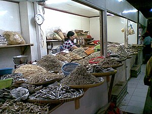 Salted fish - Various salted fishes sold in a marketplace in a suburb of Jakarta, Indonesia