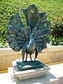 Peacock sculpture at Bahá'í gardens 2 - Stierch.jpg