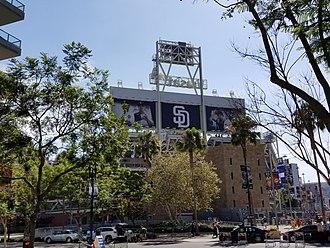 Petco Park - Petco Park centerfield scoreboard