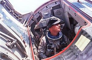 Pete Conrad - Conrad preparing for water egress training in the Gemini Static Article 5 spacecraft
