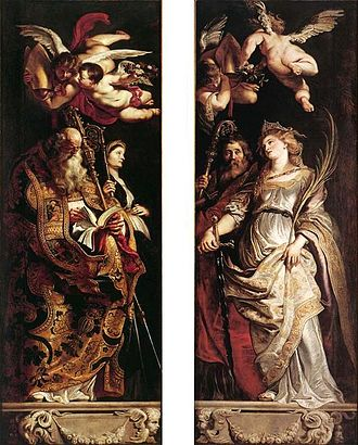 The Elevation of the Cross (Rubens) - Paintings at outside of wings