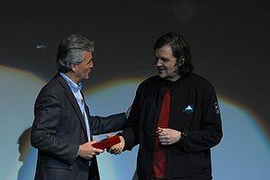 Emir Kusturica - Mayor of Guadalajara Alfonso Petersen presents Kusturica with the keys to the city at Telmex Auditorium in March 2009